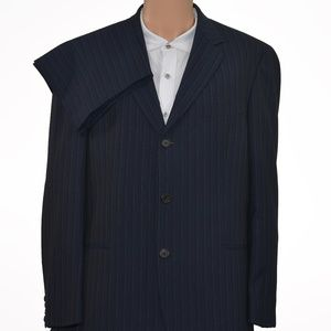 RECENT! Hugo Boss 100% Wool Blue Striped Suit 44R